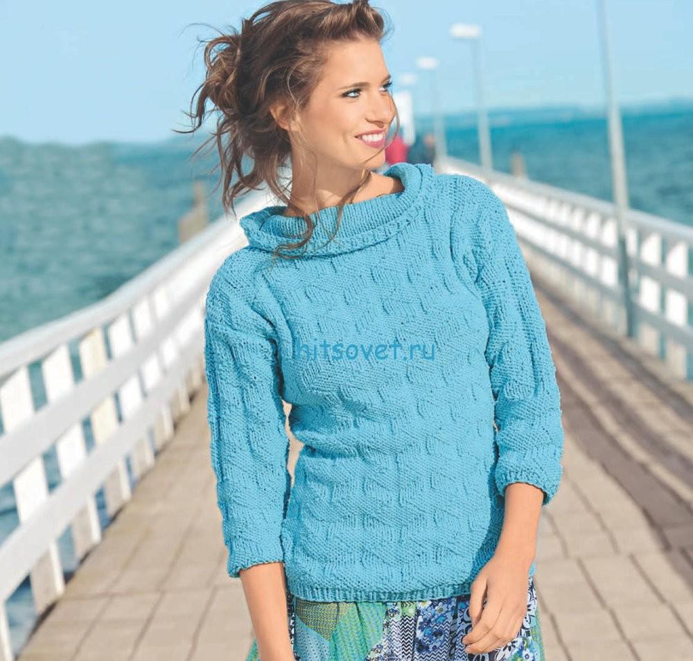 Вязание женского пуловера с рельефным узором