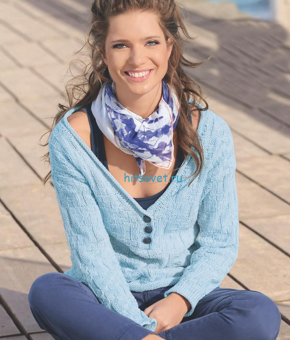 Вязание модного пуловера с широкой горловиной