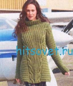 Вязание пуловера с поперечным узором, фото 2.