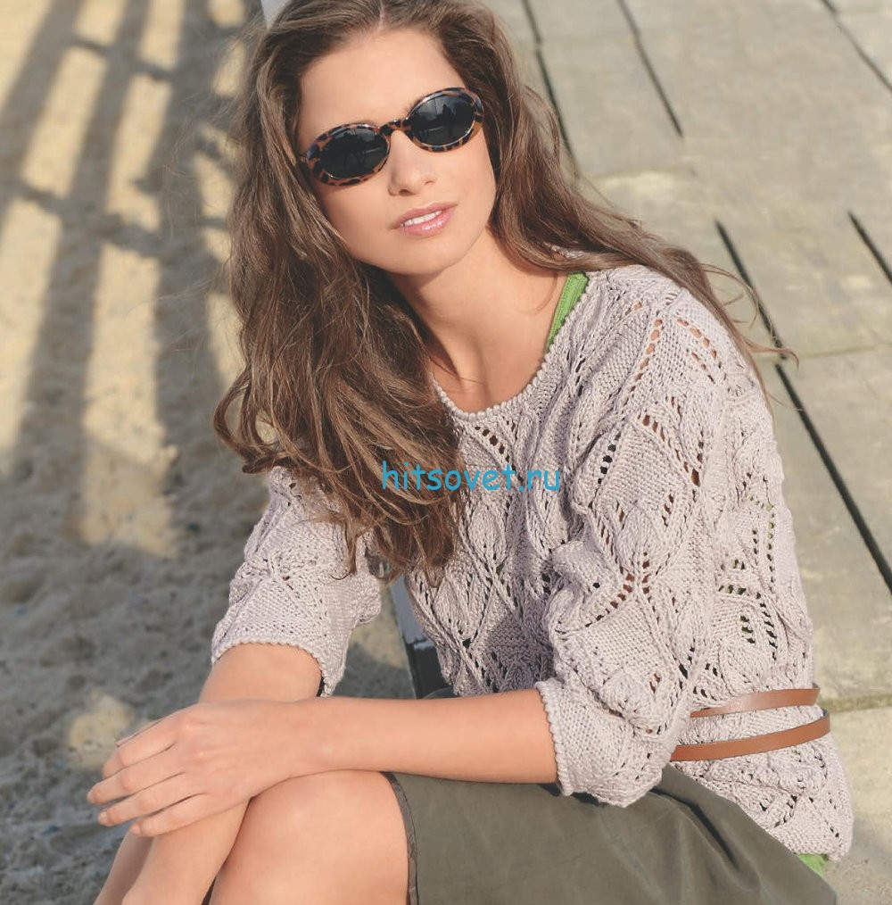 Вязание модного пуловера с ажурным узором