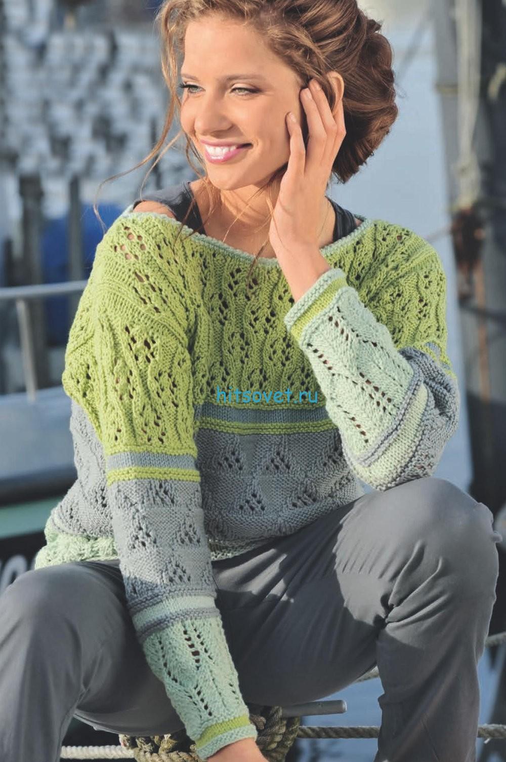 Трехцветный вязаный пуловер