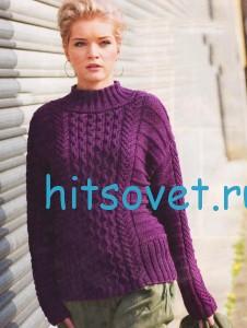 Вязание пуловера с косами из пряжи Cora