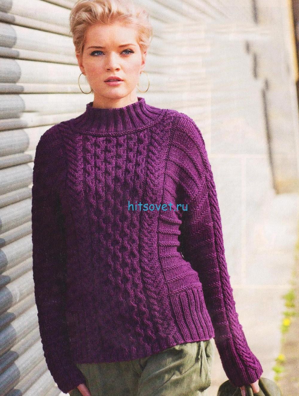 Вязание пуловера с косами и поперечным узором