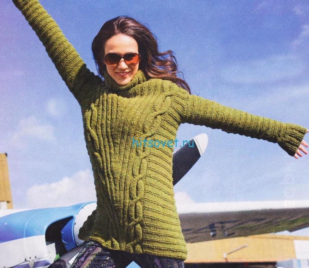 Вязание пуловера с поперечным узором