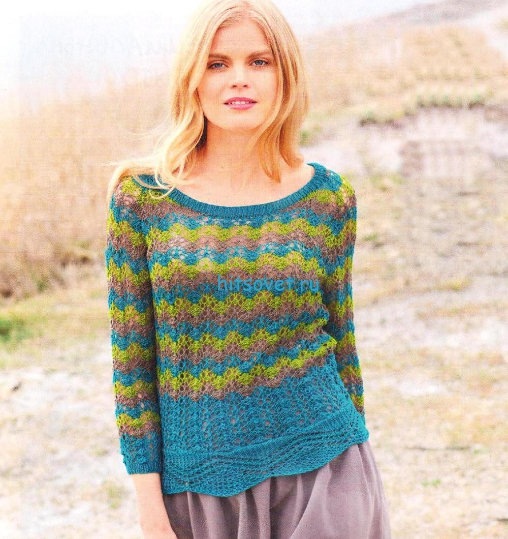 Полосатый пуловер с кружевной планкой