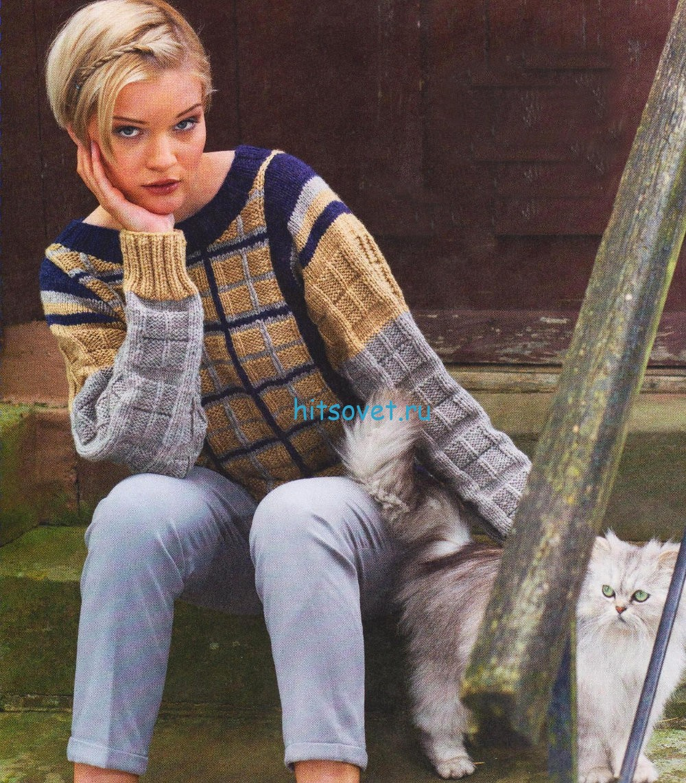 Вязание пуловера с вышитыми линиями