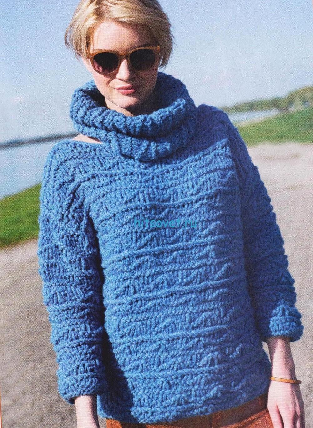 Вязание пуловера с воротником хомут