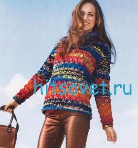 Женский меланжевый пуловер спицами со схемой