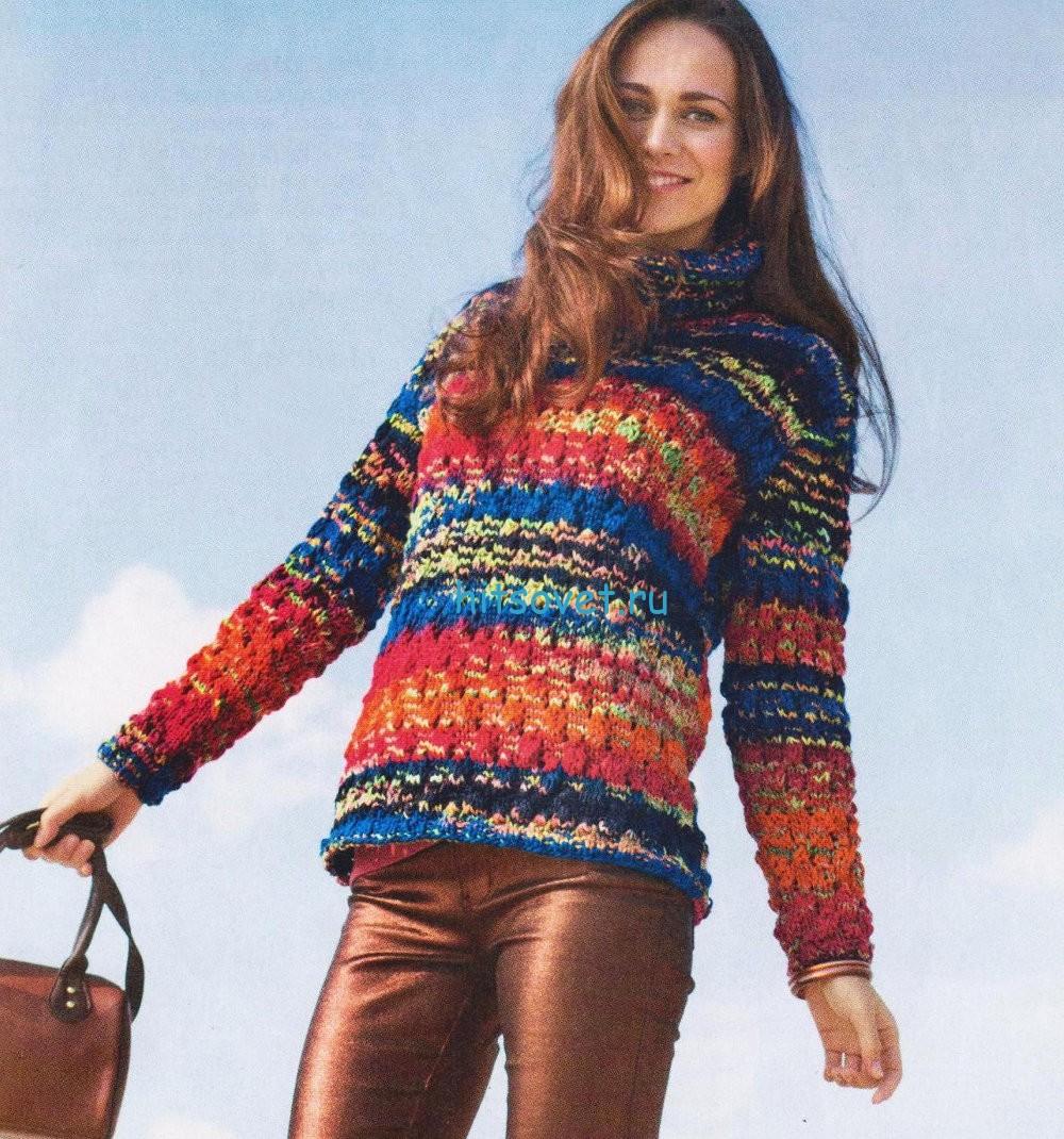 Меланжевый пуловер для девушки