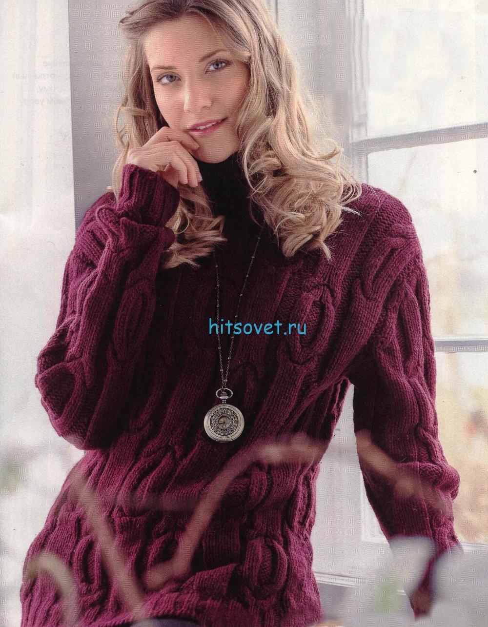 Вязание свободного пуловера с косами