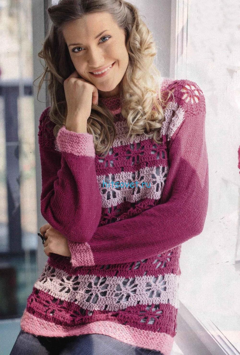 Вязание пуловера в ягодных тонах