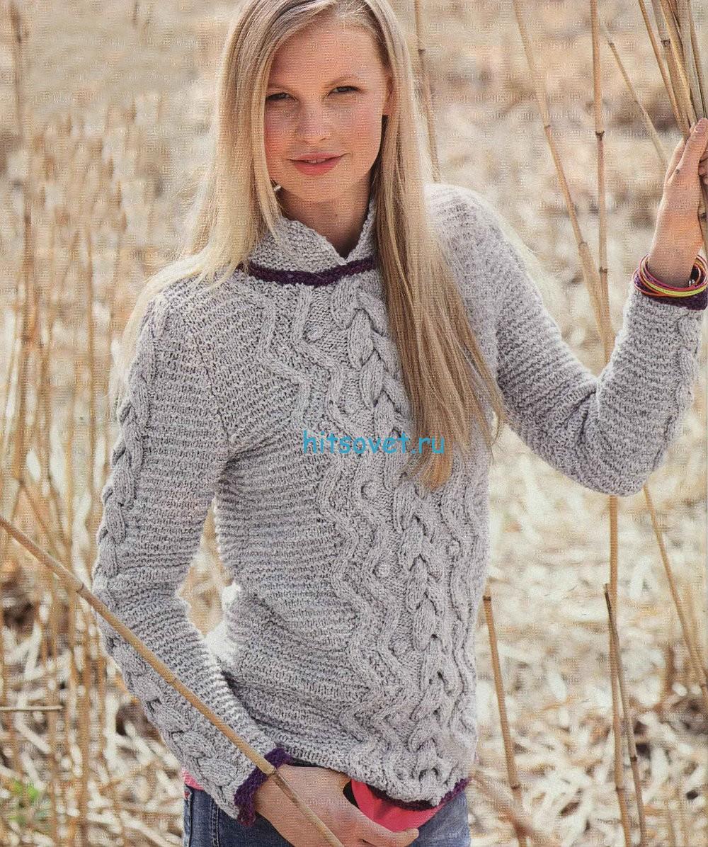 Вязание женского пуловера с косами