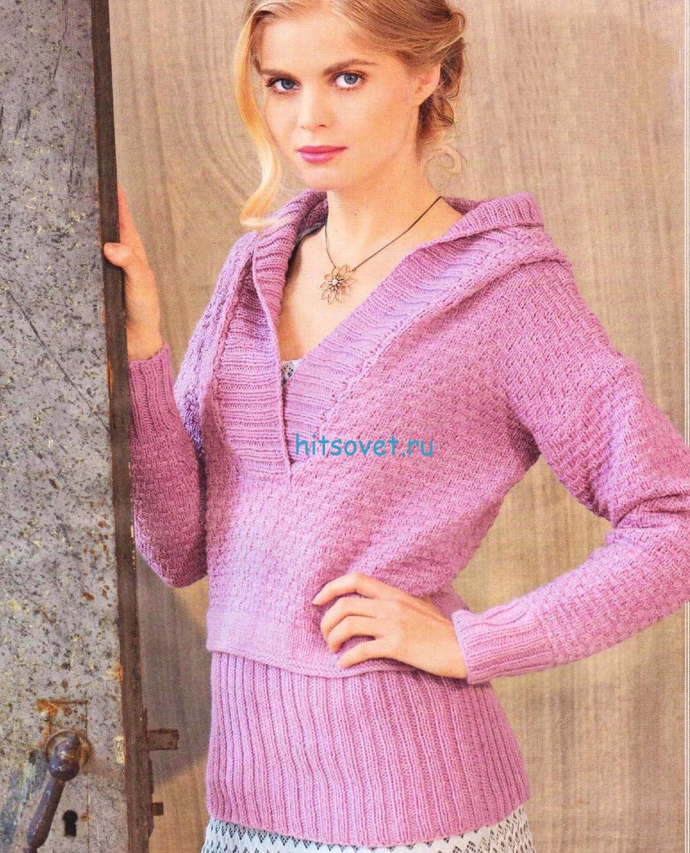 Вязание пуловера цвета мальвы