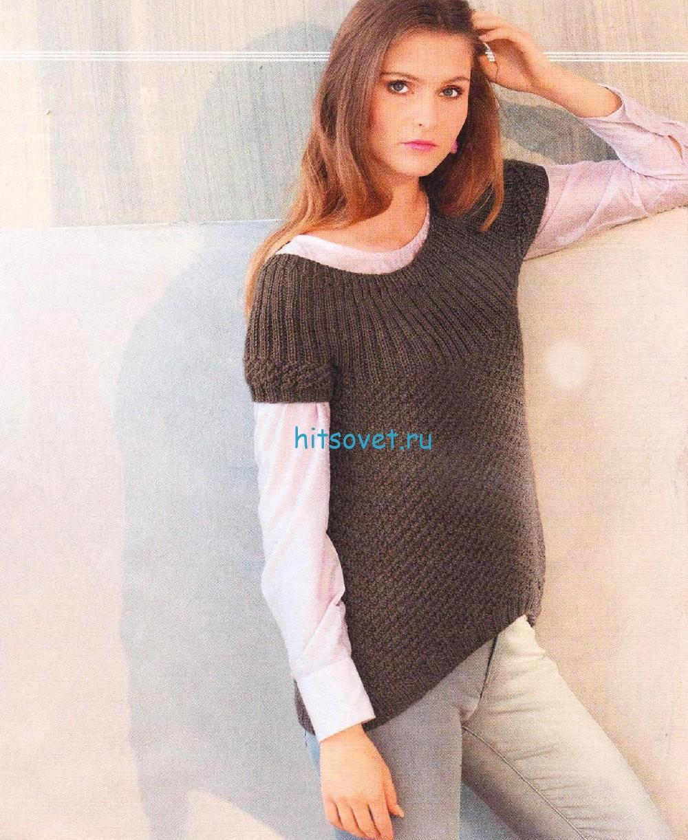 Вязание пуловера с асимметричным краем