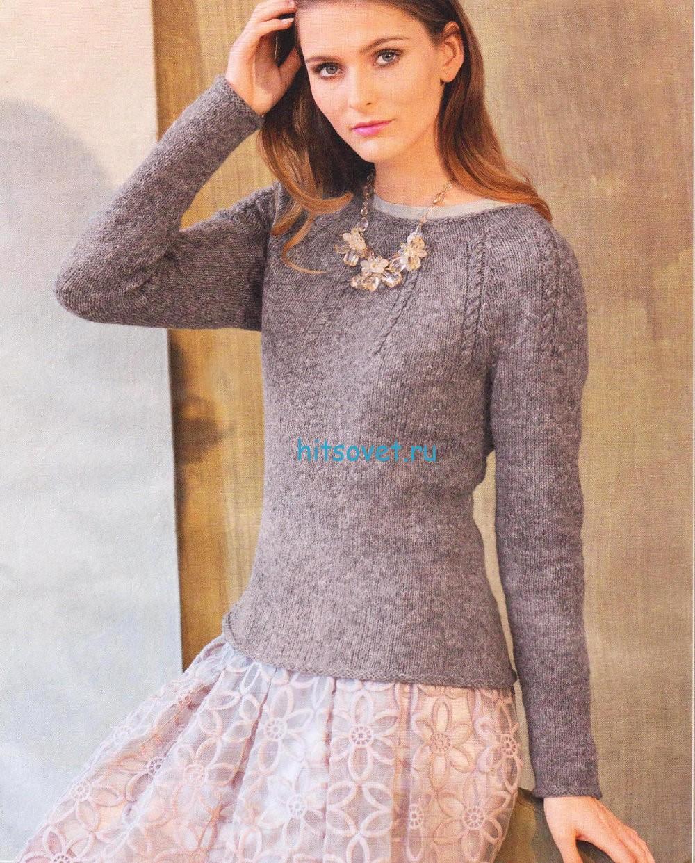 Вязание спицами пуловера с круглой кокеткой