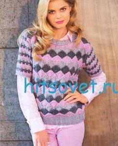 Трёхцветный пуловер спицами с короткими рукавами