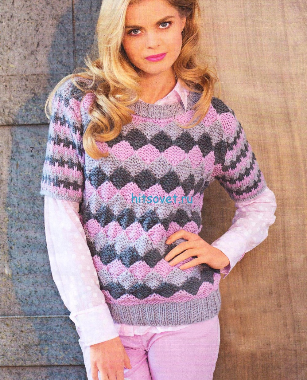 Трёхцветный пуловер спицами