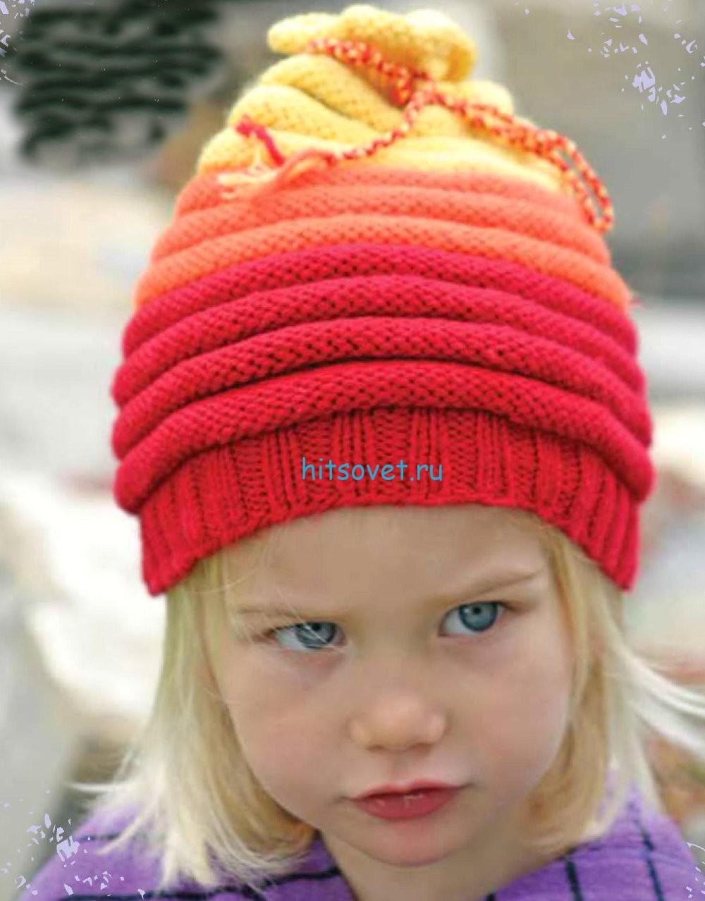 Вязание шапки с закрученными краями, фото.