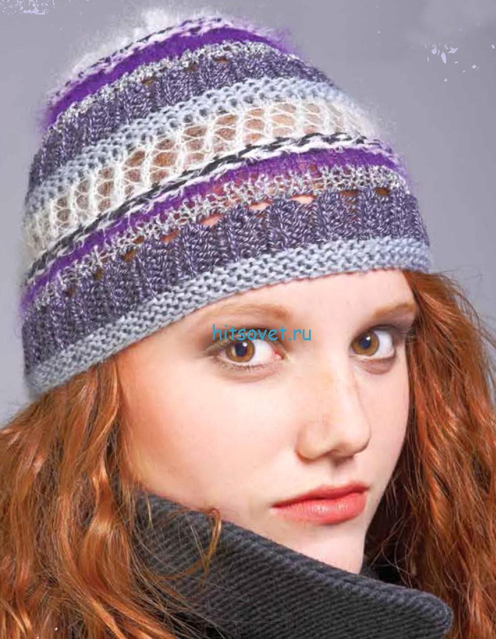 Вязание шапки из разных видов пряжи, фото.