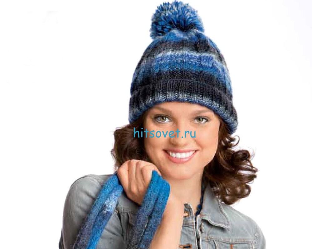 Вязание шапки с помпоном, фото.