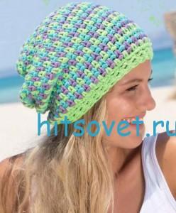 Разноцветная шапка бини крючком