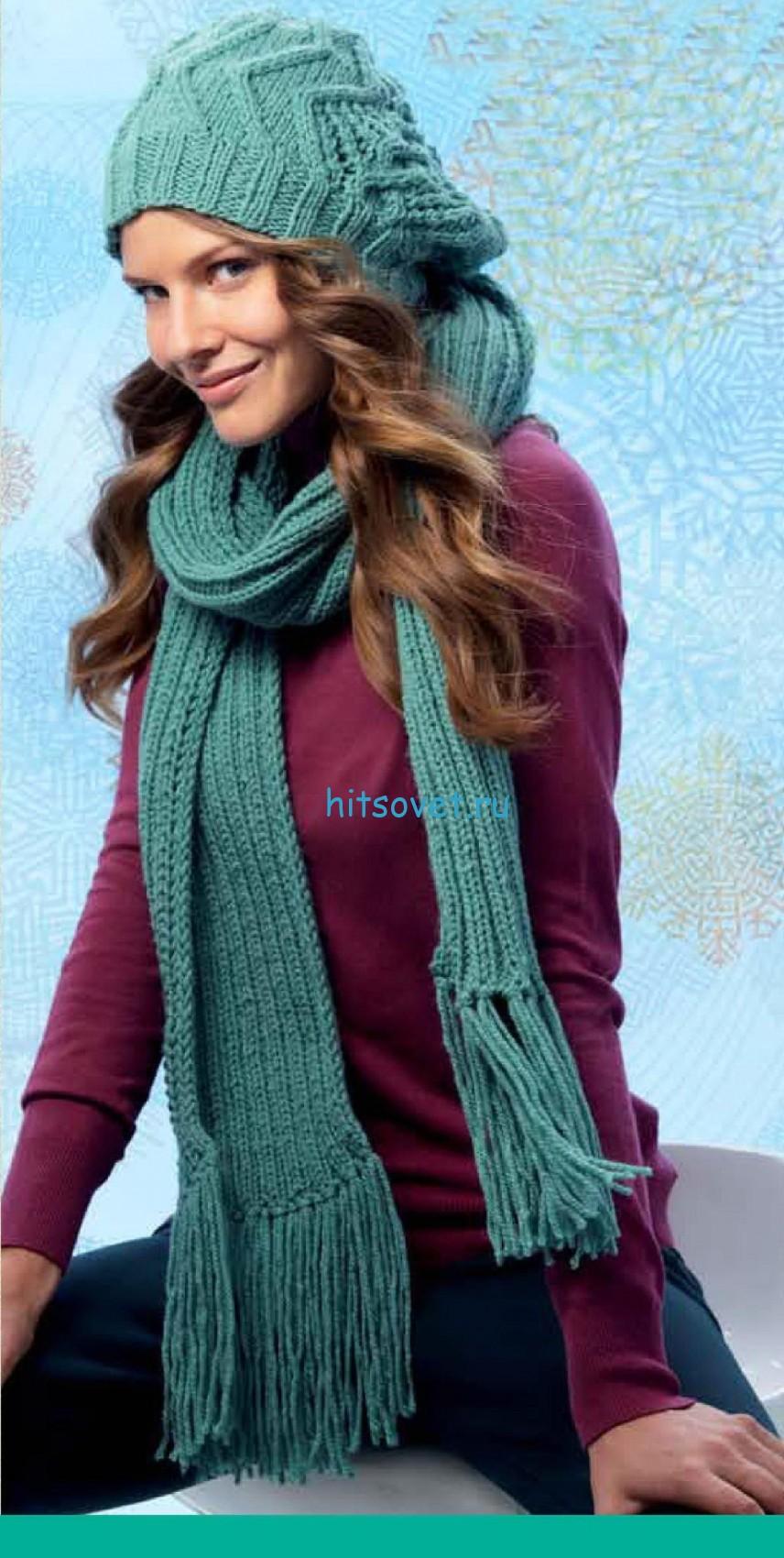 Бирюзовая шапка и шарф спицами, фото.
