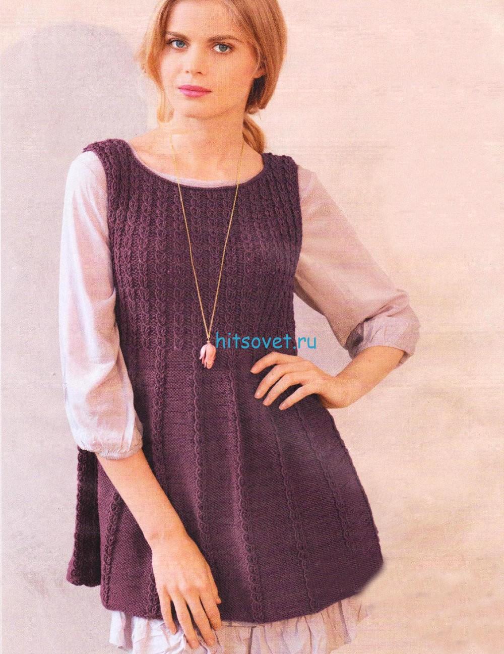 Вязание модной туники спицами, фото.