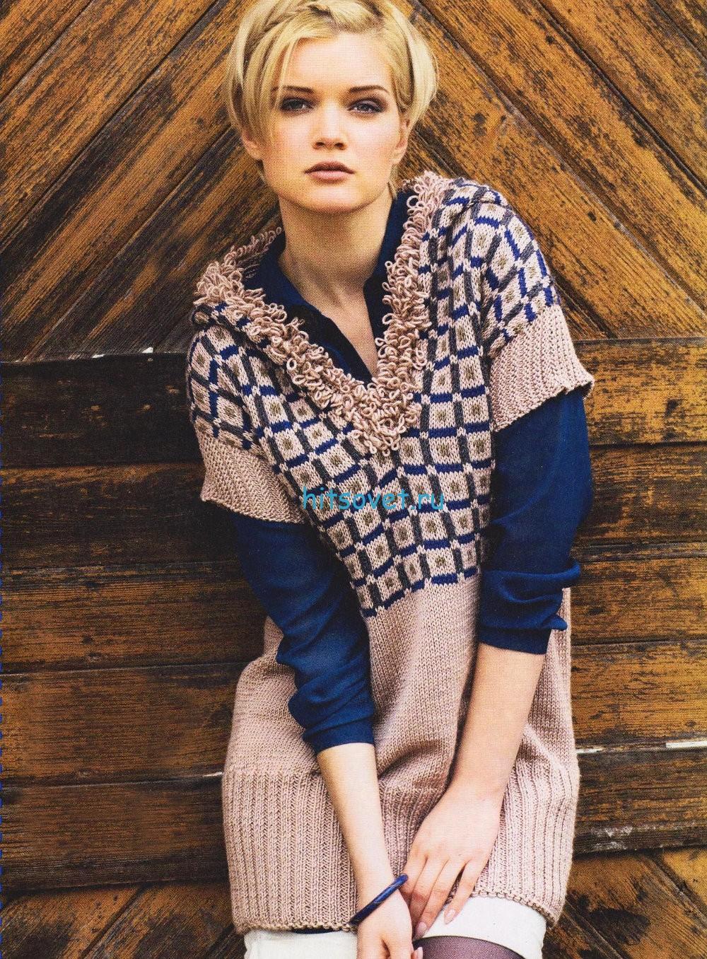 Вязание туники с капюшоном, фото.