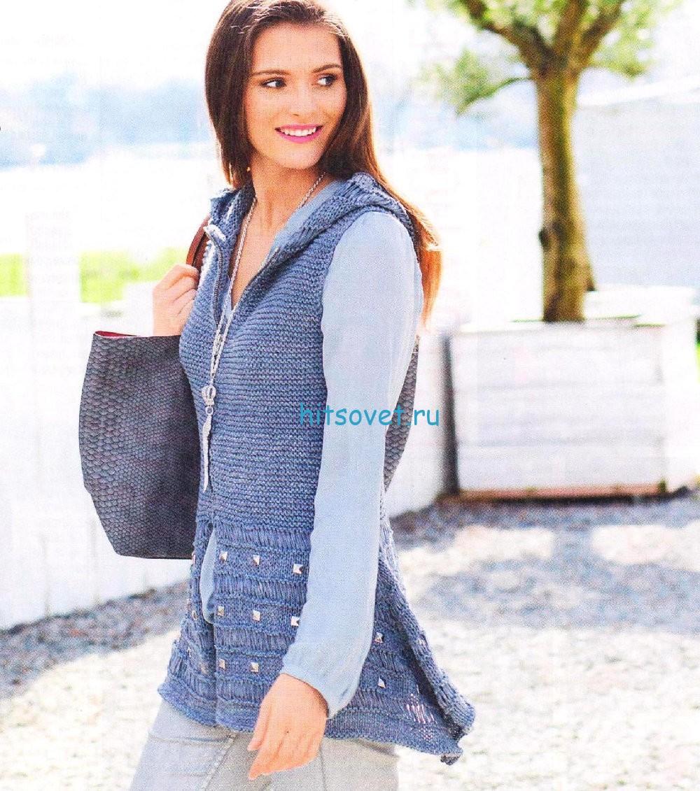 Вязание жилета с капюшоном для женщин
