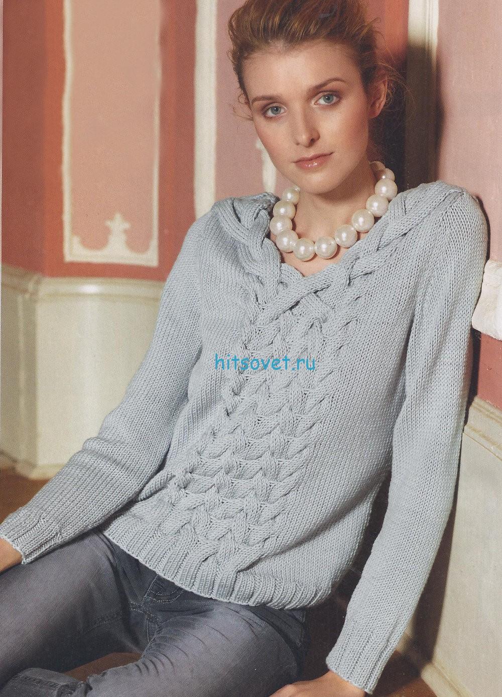 Вязание пуловера с косами схема и описание