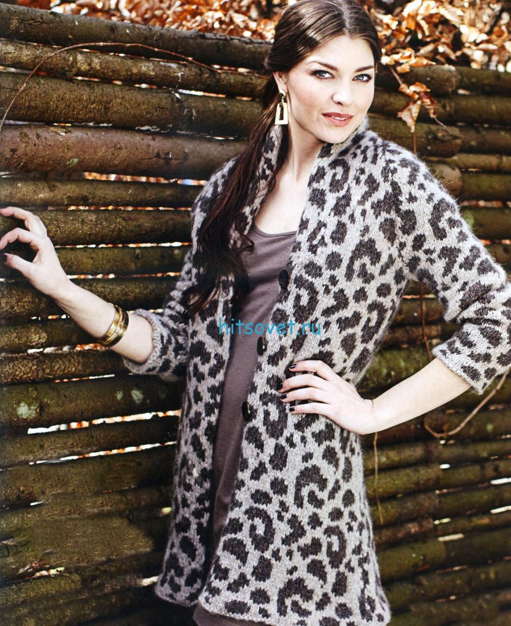Вязание кардигана с леопардовым узором, фото.