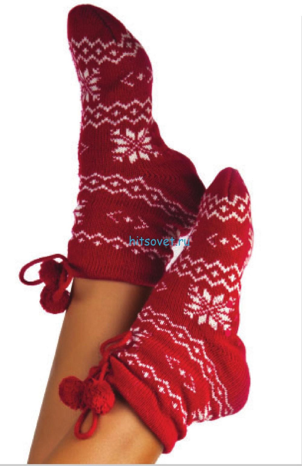 Вязание носков с жаккардовым узором