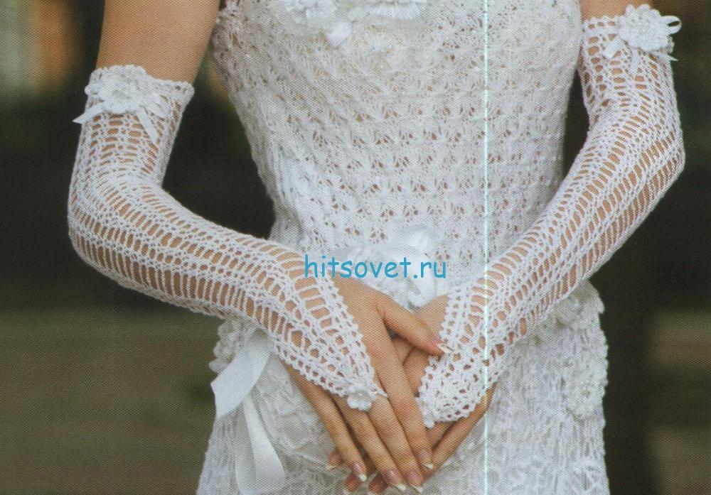 Свадебная сумочка и перчатки крючком, фото 3.