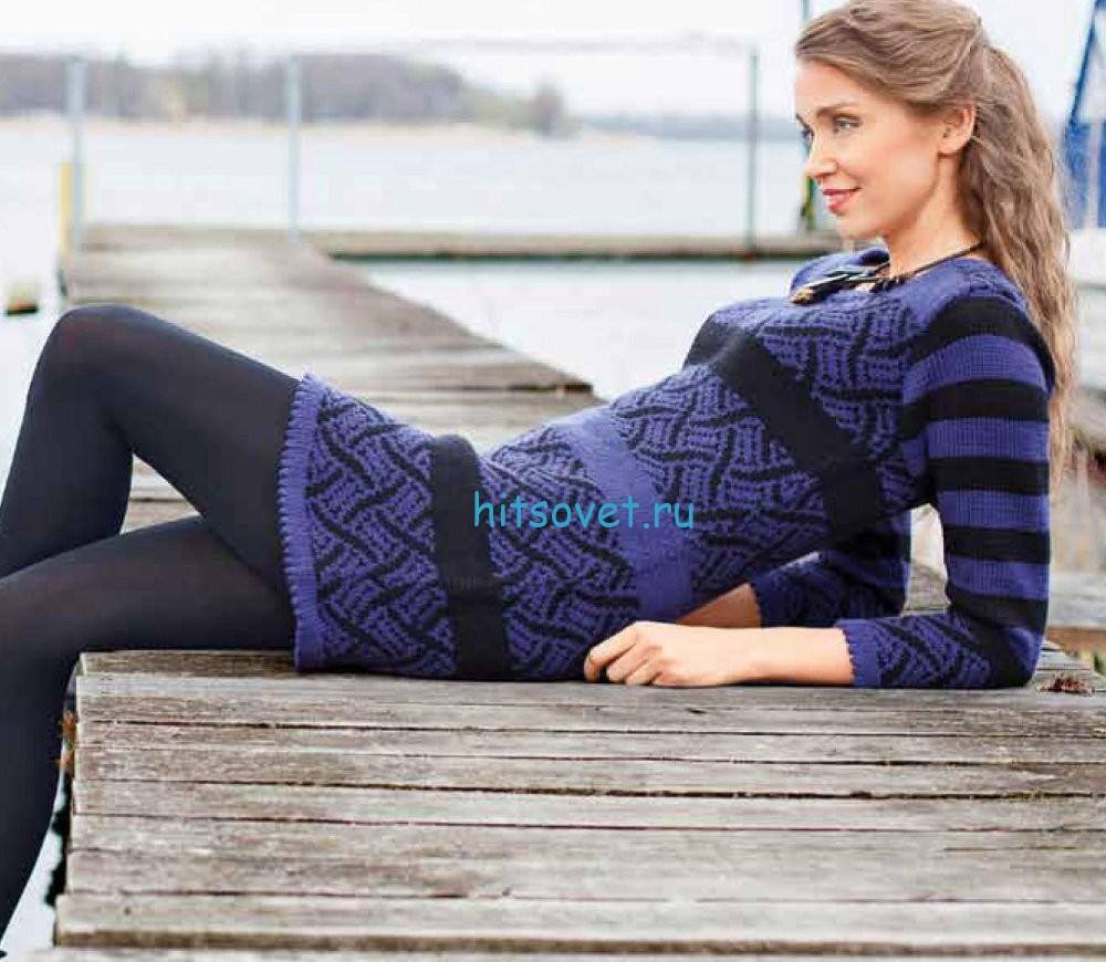 Вязание платья с жаккардом
