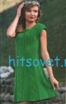 Зеленое вязаное платье