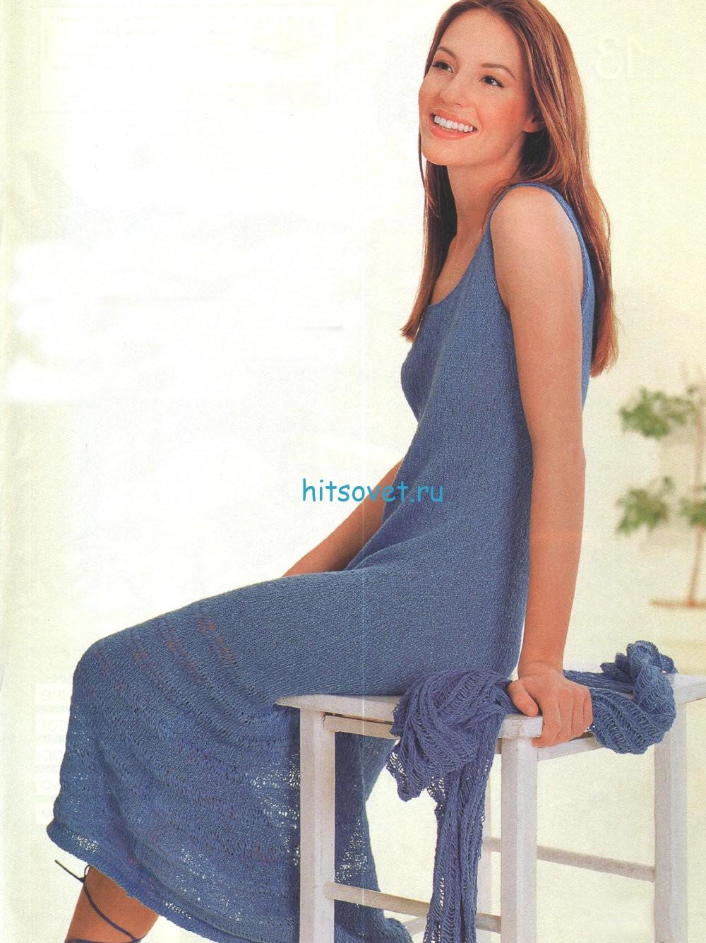 Длинное вязаное платье и шарф спицами