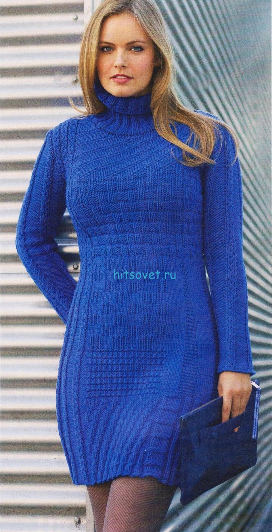 Узорчатое платье спицами, фото 1.