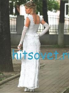 Свадебное вязаное платье, фото 2.