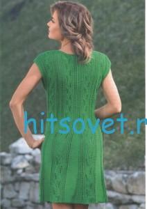 Зеленое вязаное платье, фото 2.