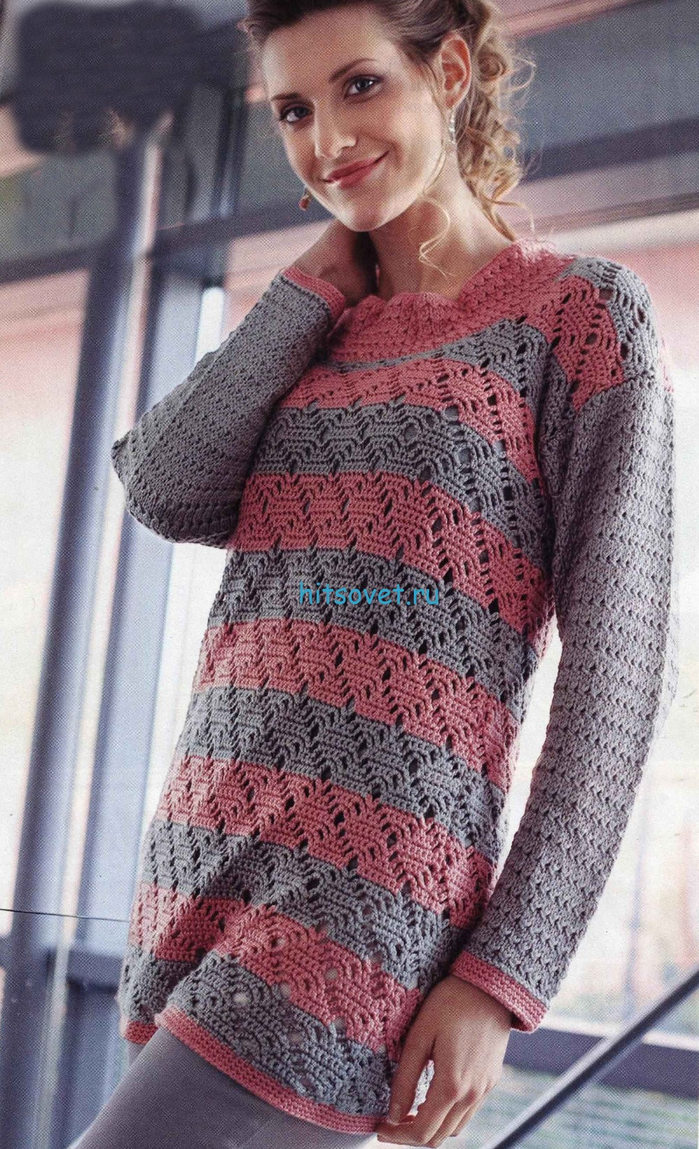 Вязание двухцветного пуловера