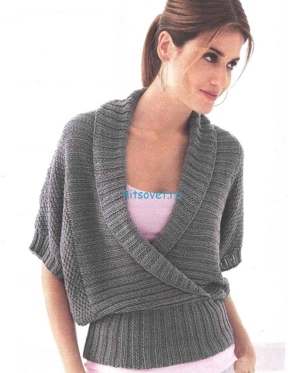 Вязание пуловера с воротником шалька