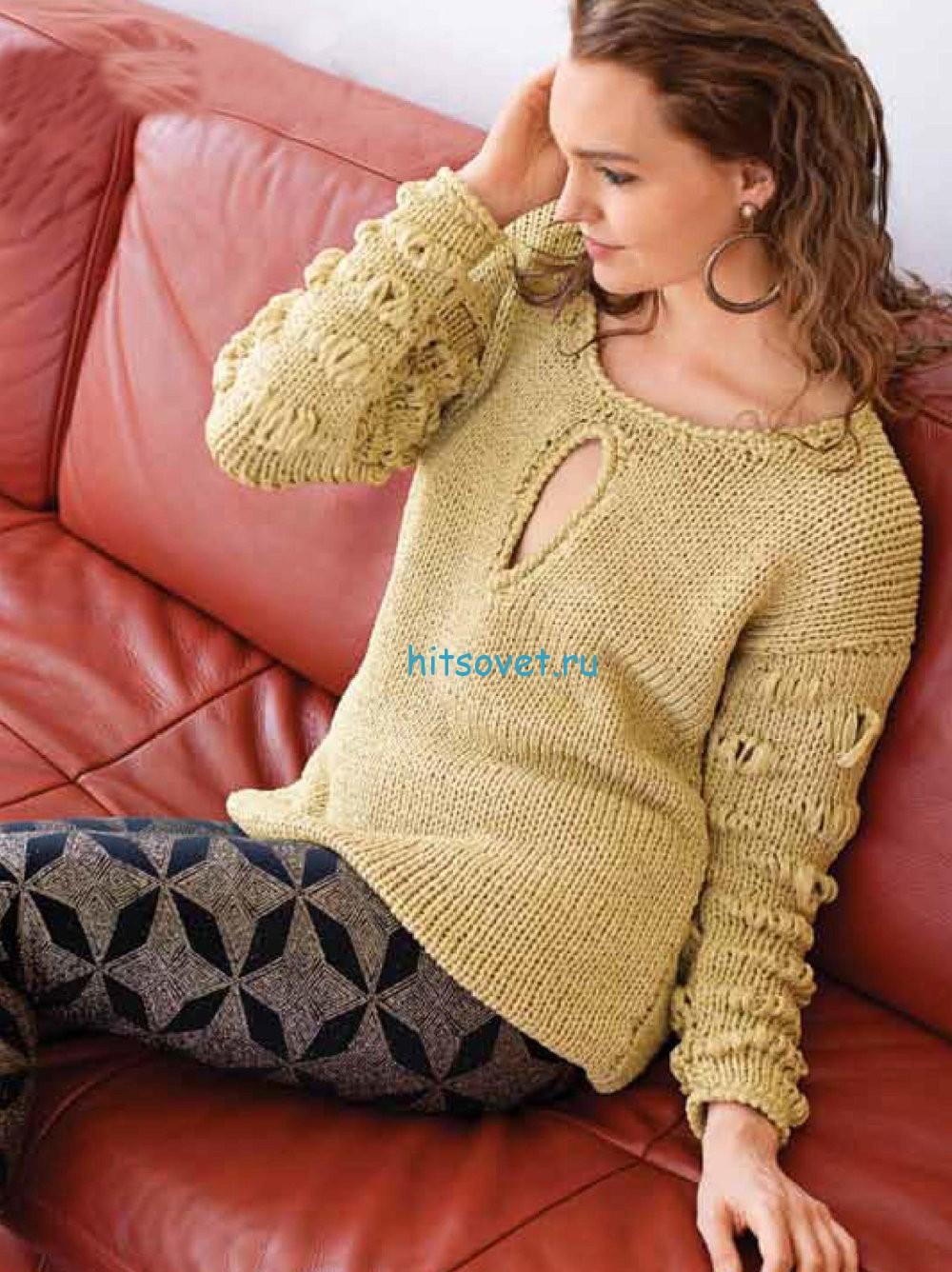 Вязание пуловера из ленточной пряжи с люрексом