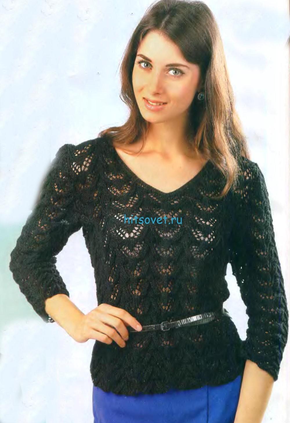 Черный вязаный пуловер