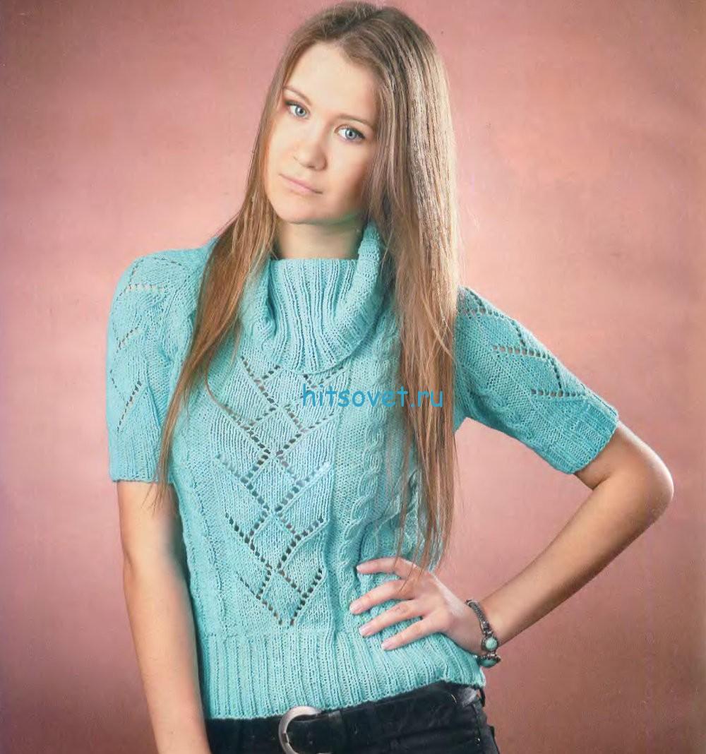 Вязание бирюзового пуловера с короткими рукавами