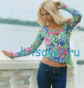 Цветочный пуловер крючком из пряжи ирис