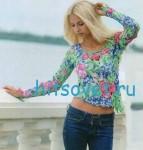 Цветочный пуловер крючком