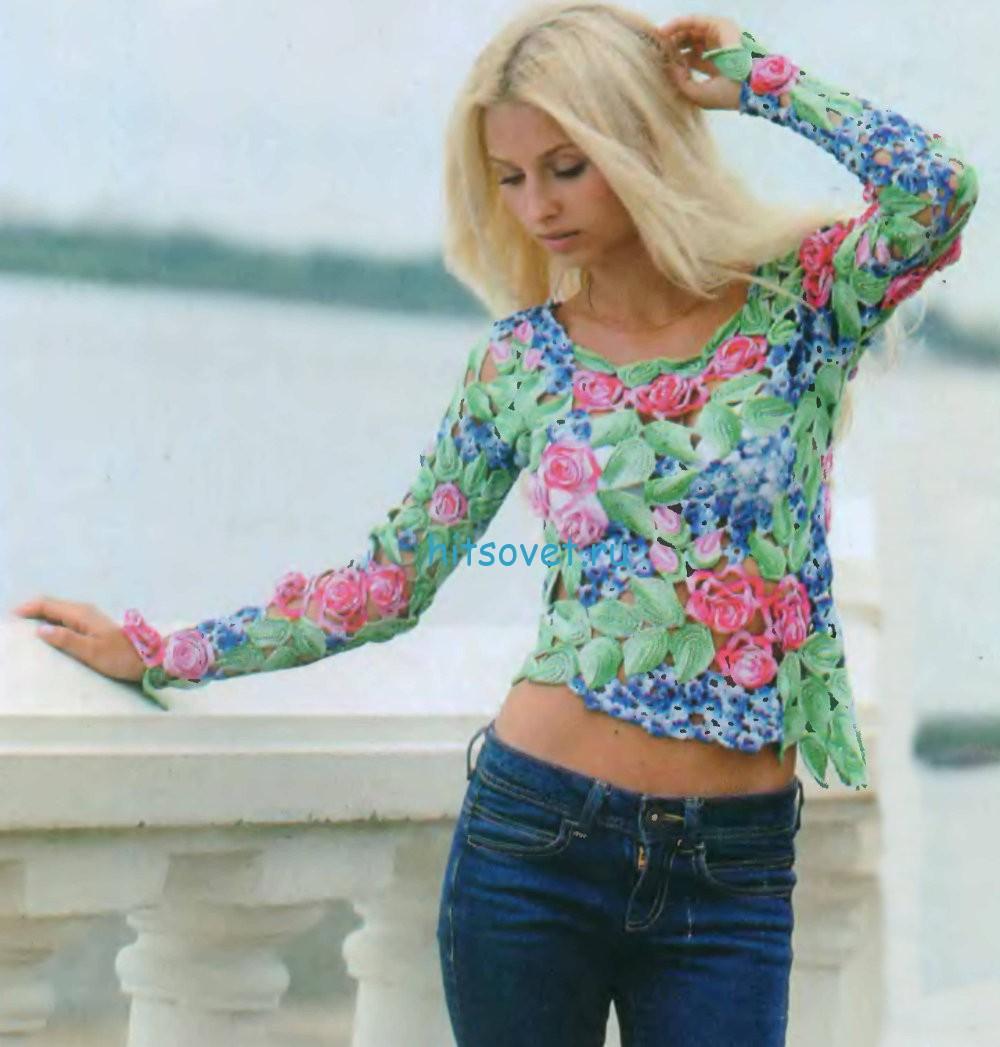 Цветочный пуловер крючком схемы, фото 1.