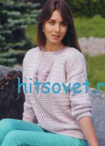 Вязание женского пуловера цвета пудры