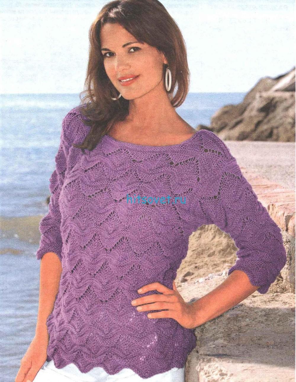 Вязание модного пуловера с волнистым узором