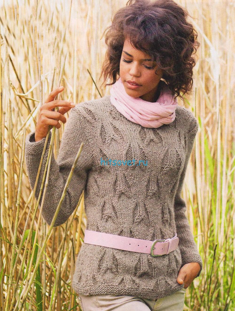 Вязание пуловер с рельефным узором